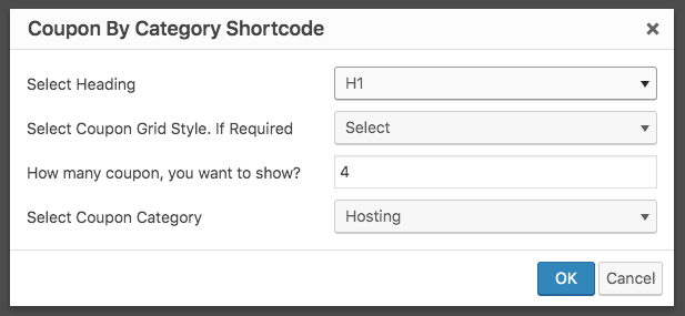 category shortcode builder